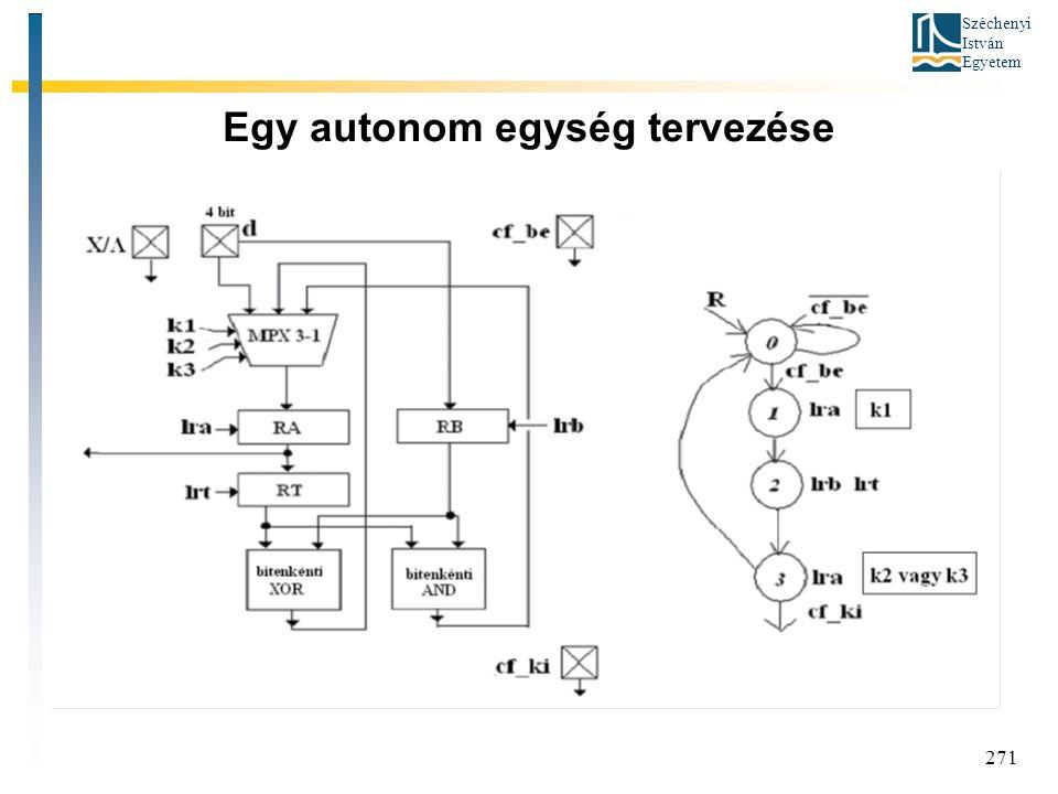 Széchenyi István Egyetem 271 Egy autonom egység tervezése