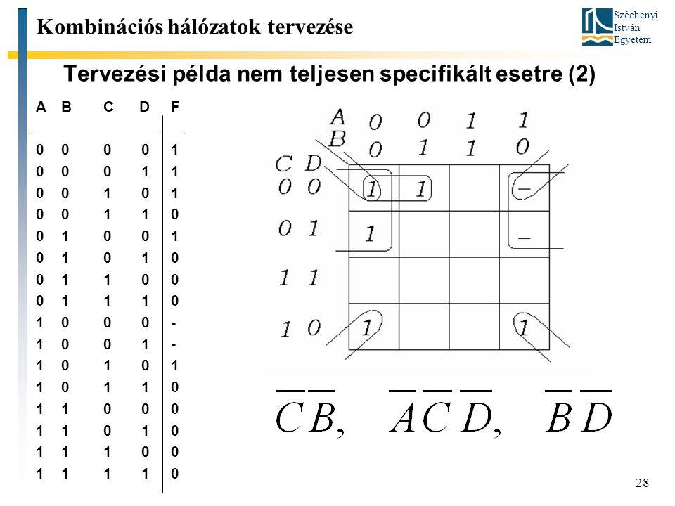 Széchenyi István Egyetem 28 Tervezési példa nem teljesen specifikált esetre (2) ABC DF 000 01 000 11 001 01 001 10 010 01 010 10 011 00 011 10 100 0-