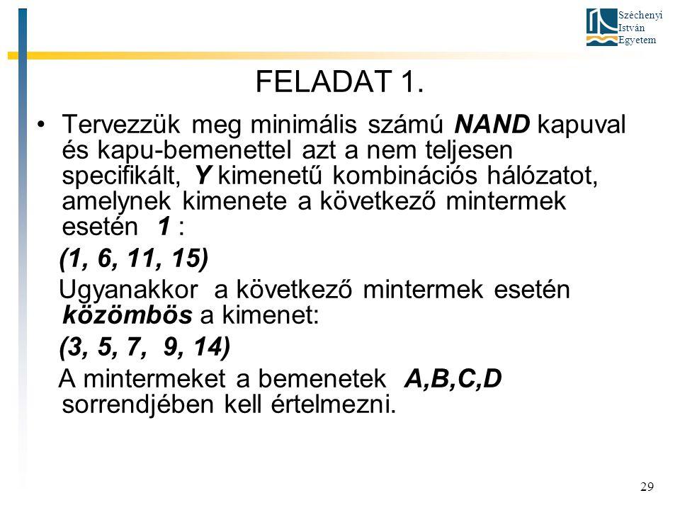 Széchenyi István Egyetem 29 FELADAT 1. Tervezzük meg minimális számú NAND kapuval és kapu-bemenettel azt a nem teljesen specifikált, Y kimenetű kombin