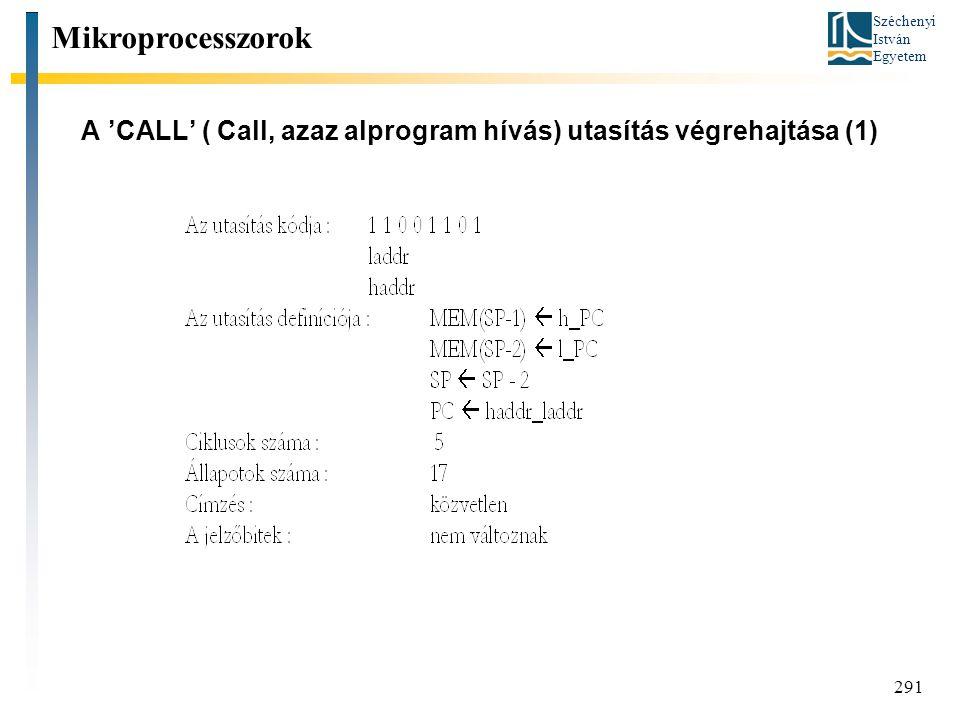 Széchenyi István Egyetem 291 A 'CALL' ( Call, azaz alprogram hívás) utasítás végrehajtása (1) Mikroprocesszorok