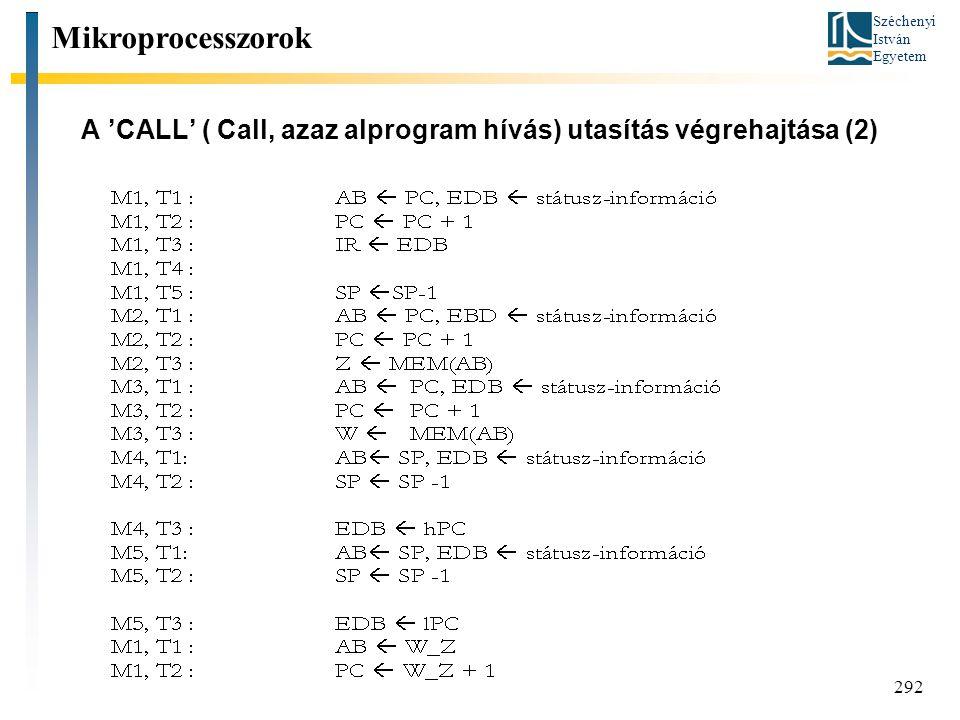 Széchenyi István Egyetem 292 A 'CALL' ( Call, azaz alprogram hívás) utasítás végrehajtása (2) Mikroprocesszorok