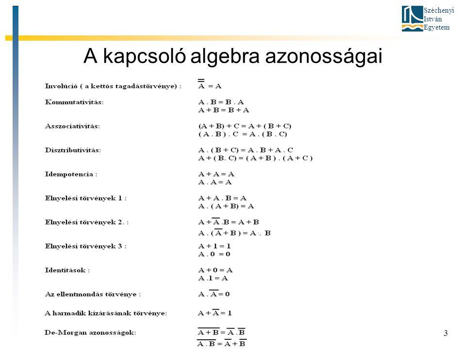 Széchenyi István Egyetem 3 A kapcsoló algebra azonosságai