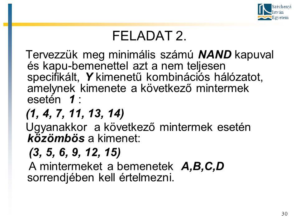 Széchenyi István Egyetem 30 FELADAT 2. Tervezzük meg minimális számú NAND kapuval és kapu-bemenettel azt a nem teljesen specifikált, Y kimenetű kombin