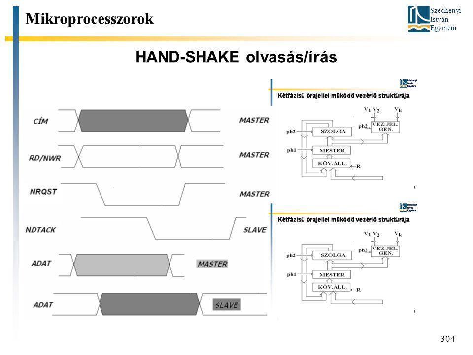 Széchenyi István Egyetem 304 HAND-SHAKE olvasás/írás Mikroprocesszorok írás olvasás