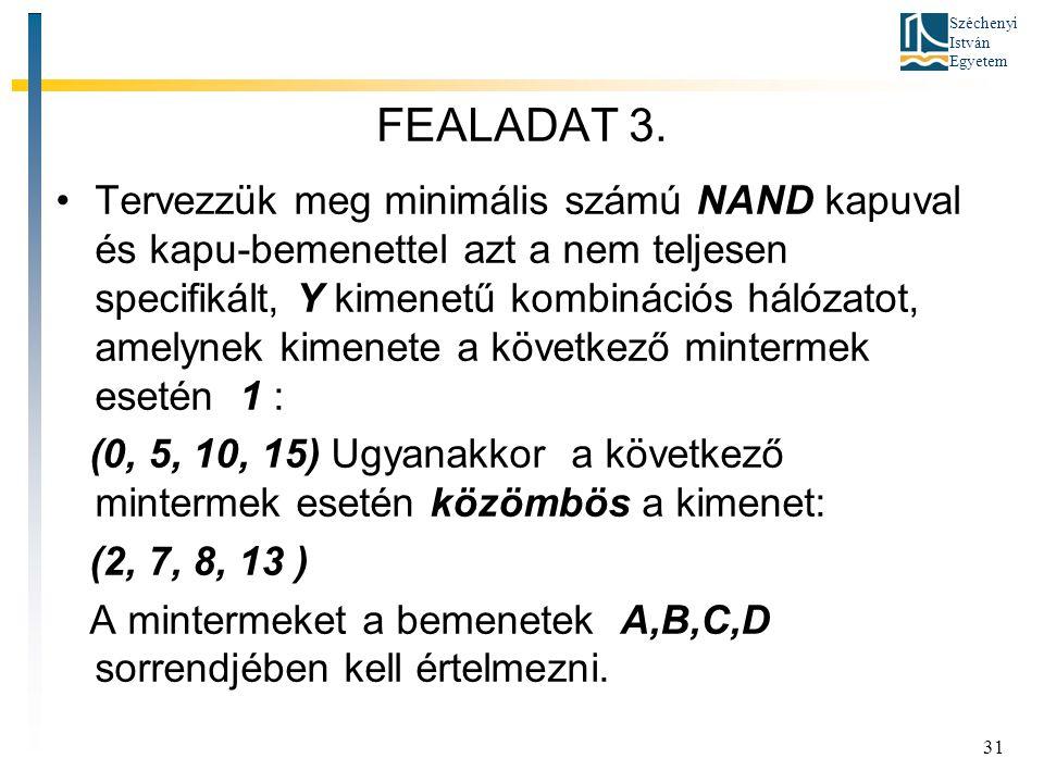 Széchenyi István Egyetem 31 FEALADAT 3. Tervezzük meg minimális számú NAND kapuval és kapu-bemenettel azt a nem teljesen specifikált, Y kimenetű kombi
