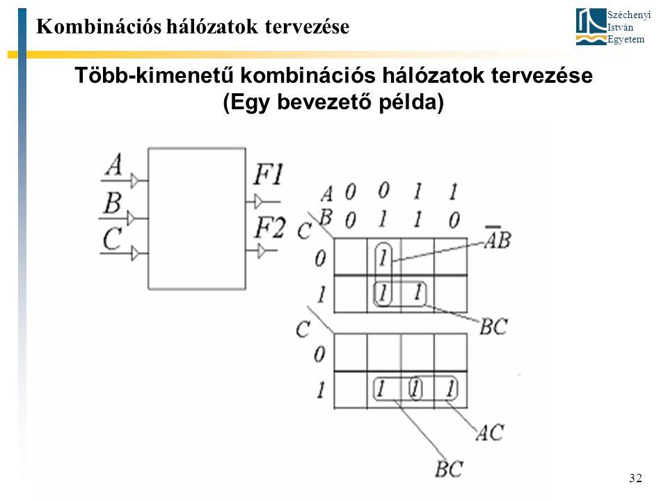 Széchenyi István Egyetem 32 Több-kimenetű kombinációs hálózatok tervezése (Egy bevezető példa) Kombinációs hálózatok tervezése