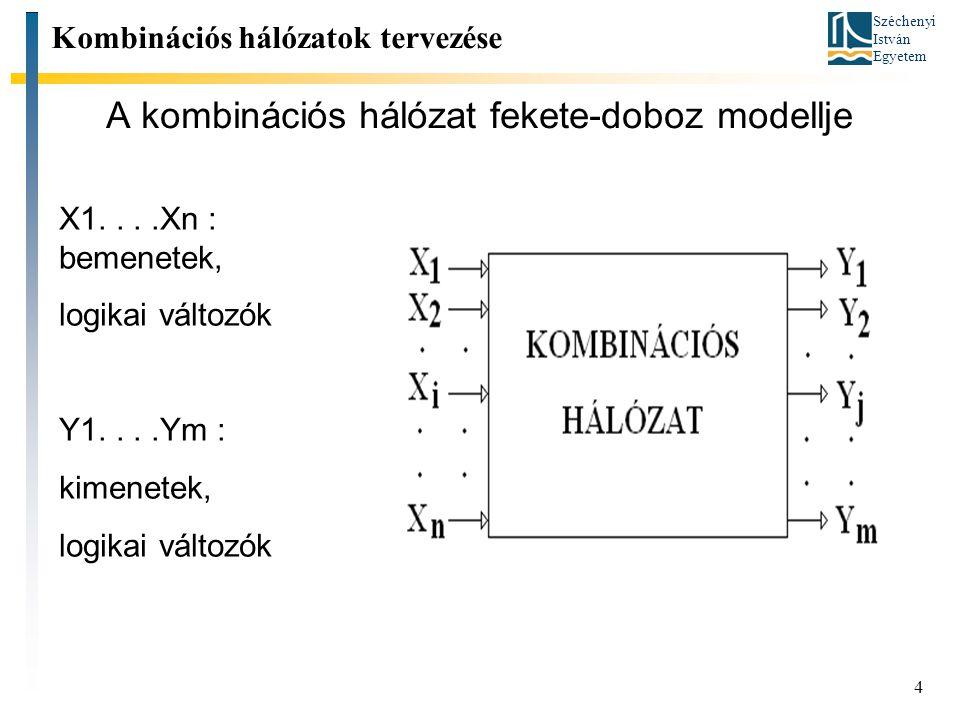 Széchenyi István Egyetem 4 A kombinációs hálózat fekete-doboz modellje Kombinációs hálózatok tervezése X1....Xn : bemenetek, logikai változók Y1....Ym