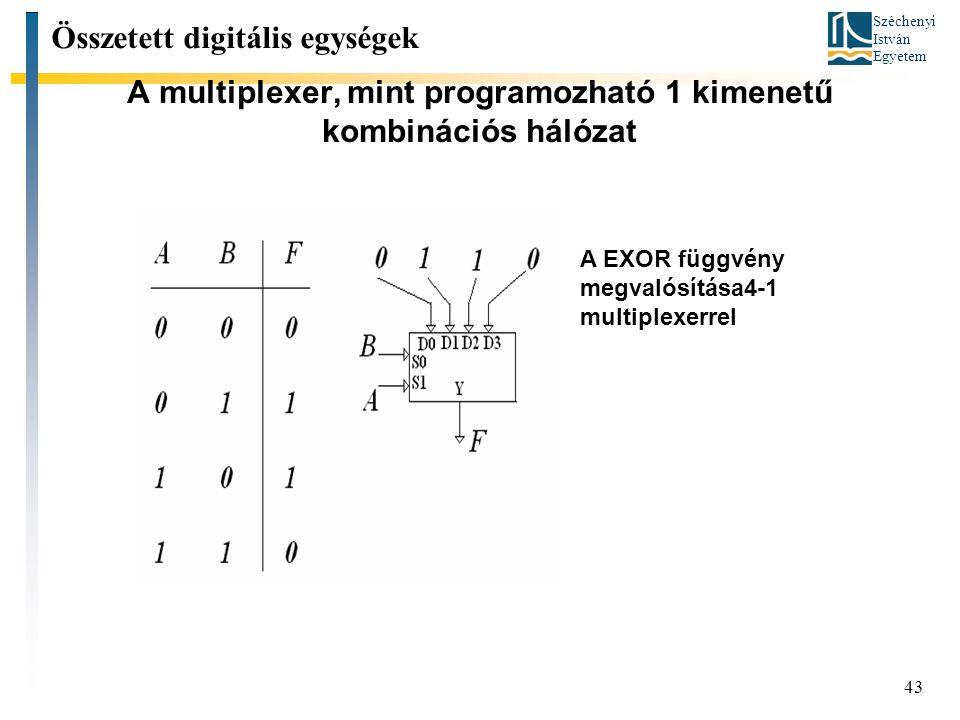 Széchenyi István Egyetem 43 A multiplexer, mint programozható 1 kimenetű kombinációs hálózat Összetett digitális egységek A EXOR függvény megvalósítás
