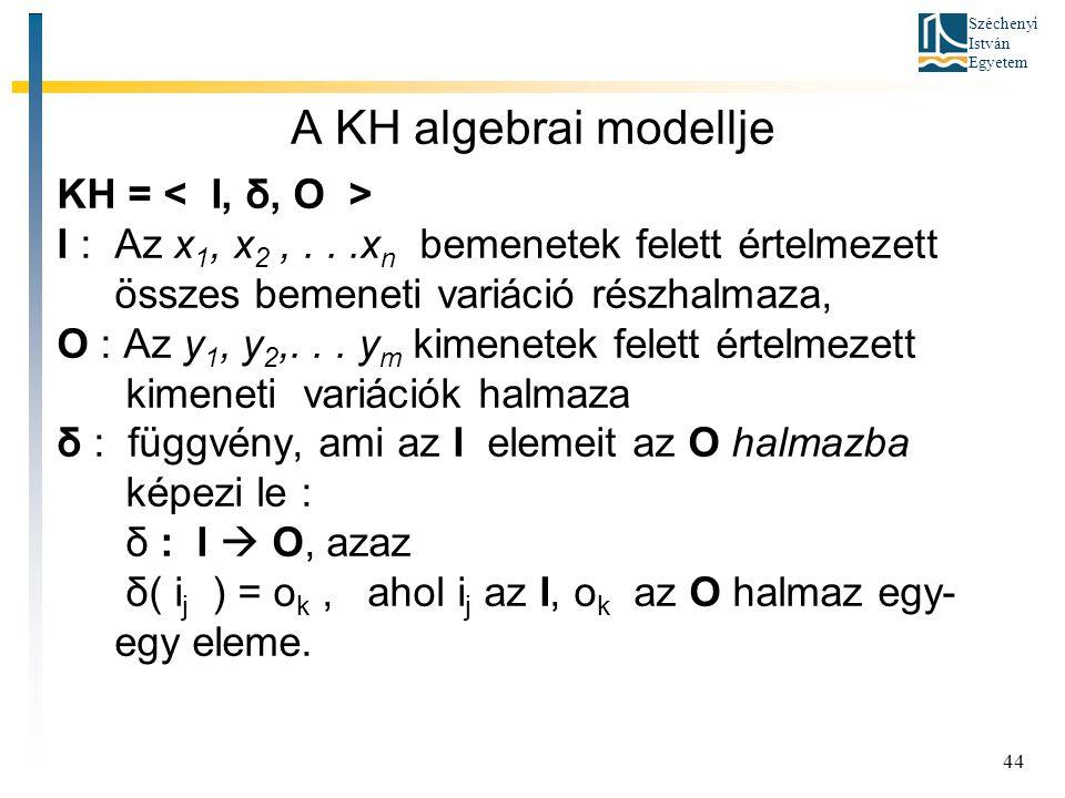 Széchenyi István Egyetem 44 A KH algebrai modellje KH = I : Az x 1, x 2,...x n bemenetek felett értelmezett összes bemeneti variáció részhalmaza, O : Az y 1, y 2,...