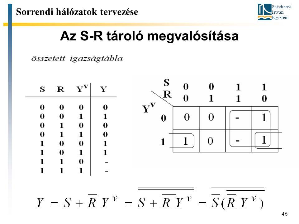 Széchenyi István Egyetem 46 Az S-R tároló megvalósítása Sorrendi hálózatok tervezése
