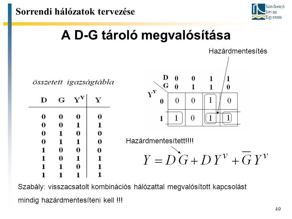 Széchenyi István Egyetem 49 A D-G tároló megvalósítása Sorrendi hálózatok tervezése Hazárdmentesített!!!! Hazárdmentesítés Szabály: visszacsatolt komb