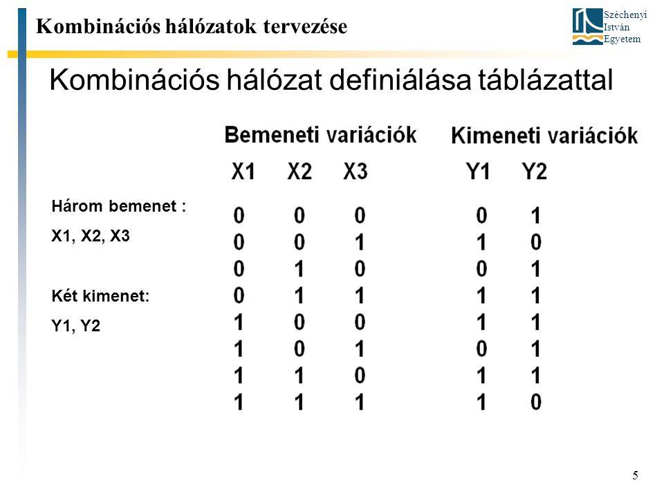 Széchenyi István Egyetem 5 Kombinációs hálózat definiálása táblázattal Kombinációs hálózatok tervezése Három bemenet : X1, X2, X3 Két kimenet: Y1, Y2