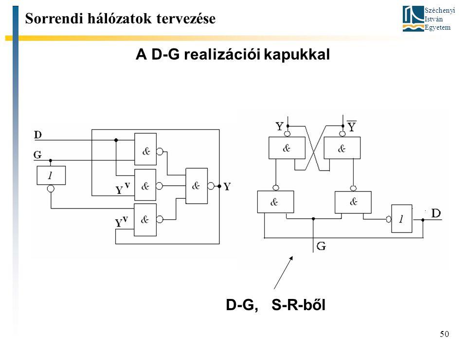 Széchenyi István Egyetem 50 A D-G realizációi kapukkal Sorrendi hálózatok tervezése D-G, S-R-ből