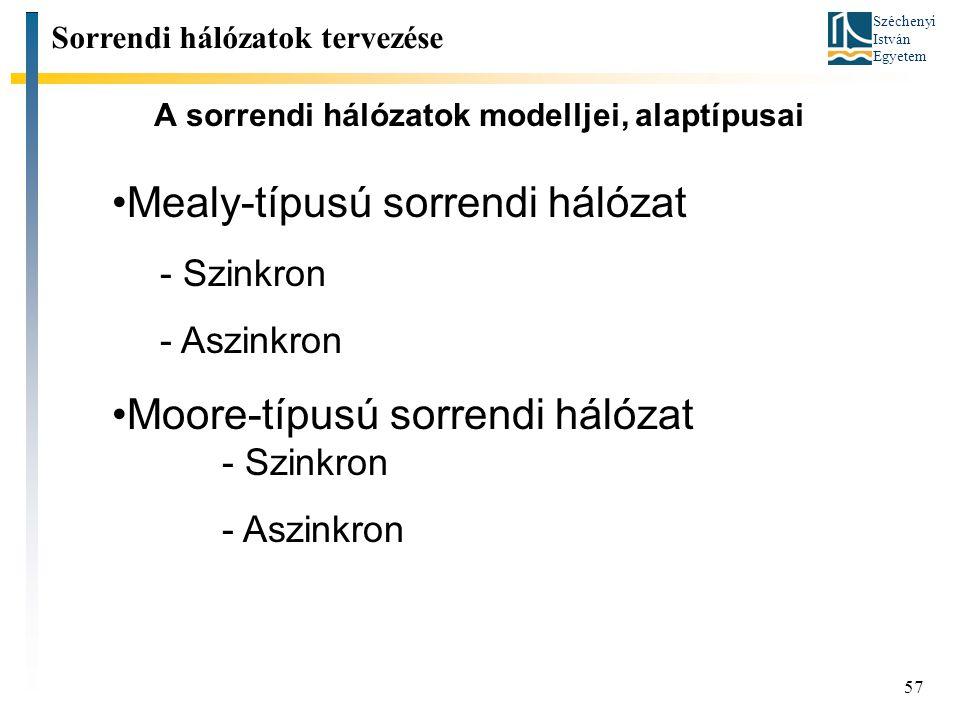 Széchenyi István Egyetem 57 A sorrendi hálózatok modelljei, alaptípusai Sorrendi hálózatok tervezése Mealy-típusú sorrendi hálózat - Szinkron - Aszinkron Moore-típusú sorrendi hálózat - Szinkron - Aszinkron