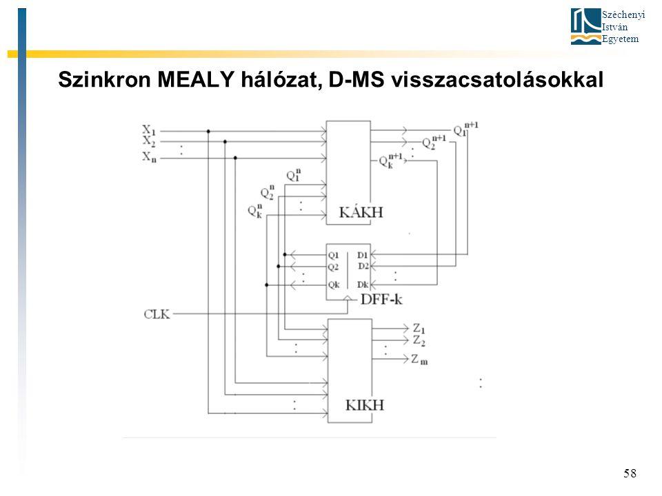 Széchenyi István Egyetem 58 Szinkron MEALY hálózat, D-MS visszacsatolásokkal