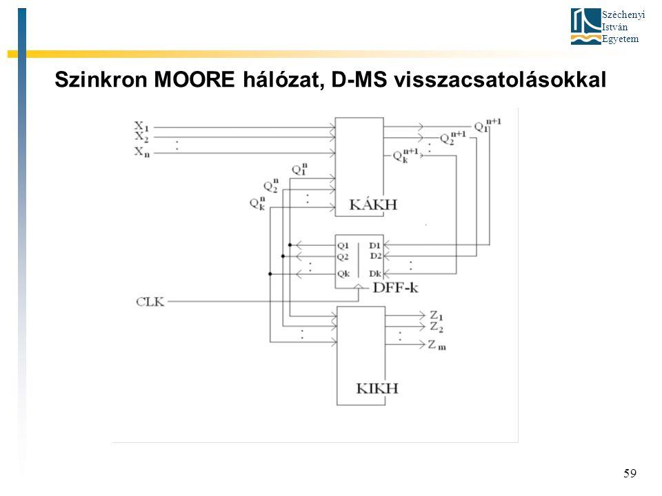 Széchenyi István Egyetem 59 Szinkron MOORE hálózat, D-MS visszacsatolásokkal