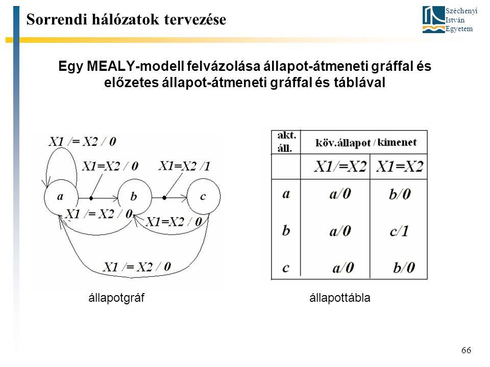 Széchenyi István Egyetem 66 Egy MEALY-modell felvázolása állapot-átmeneti gráffal és előzetes állapot-átmeneti gráffal és táblával Sorrendi hálózatok tervezése állapotgráf állapottábla
