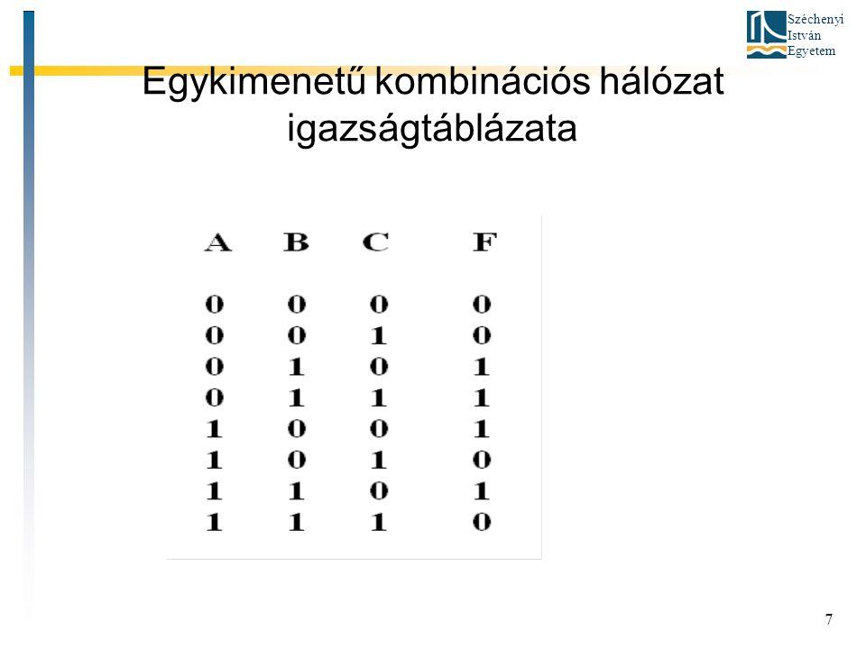 Széchenyi István Egyetem 7 Egykimenetű kombinációs hálózat igazságtáblázata