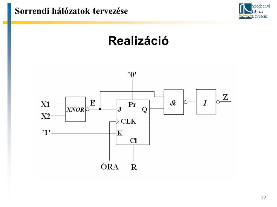Széchenyi István Egyetem 72 Realizáció Sorrendi hálózatok tervezése