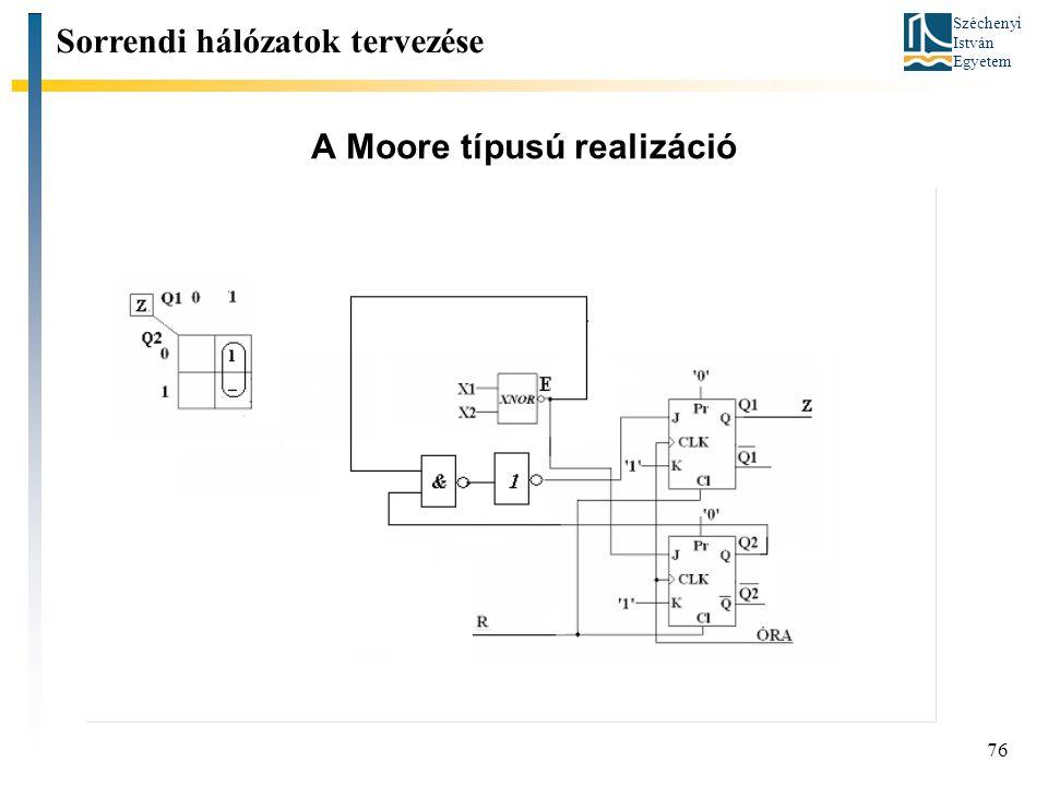 Széchenyi István Egyetem 76 A Moore típusú realizáció Sorrendi hálózatok tervezése