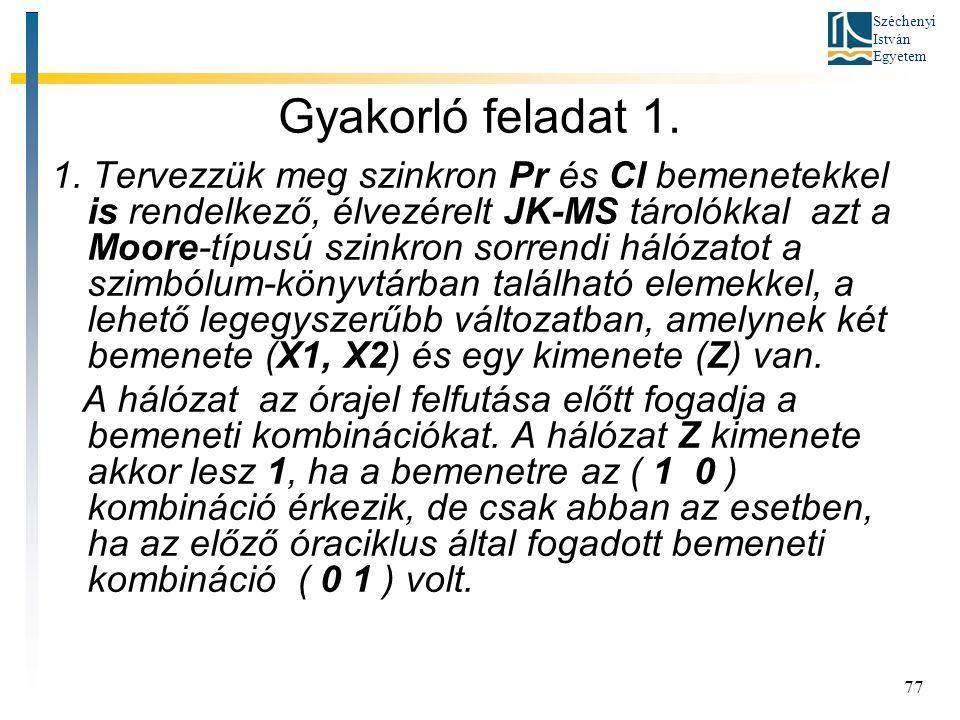 Széchenyi István Egyetem 77 Gyakorló feladat 1. 1. Tervezzük meg szinkron Pr és Cl bemenetekkel is rendelkező, élvezérelt JK-MS tárolókkal azt a Moore