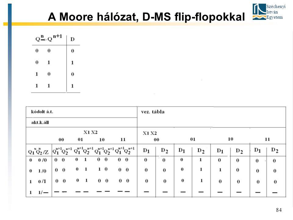 Széchenyi István Egyetem 84 A Moore hálózat, D-MS flip-flopokkal