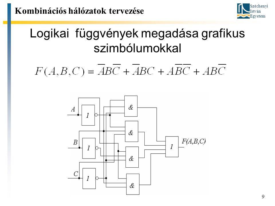 Széchenyi István Egyetem 9 Logikai függvények megadása grafikus szimbólumokkal Kombinációs hálózatok tervezése