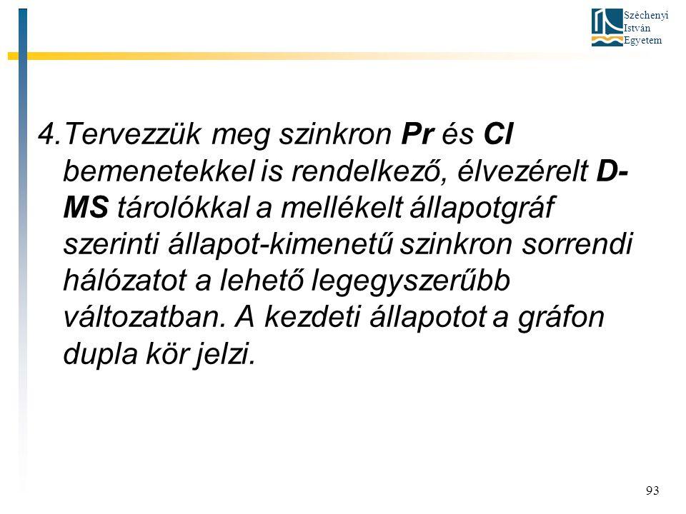 Széchenyi István Egyetem 93 4.Tervezzük meg szinkron Pr és Cl bemenetekkel is rendelkező, élvezérelt D- MS tárolókkal a mellékelt állapotgráf szerinti