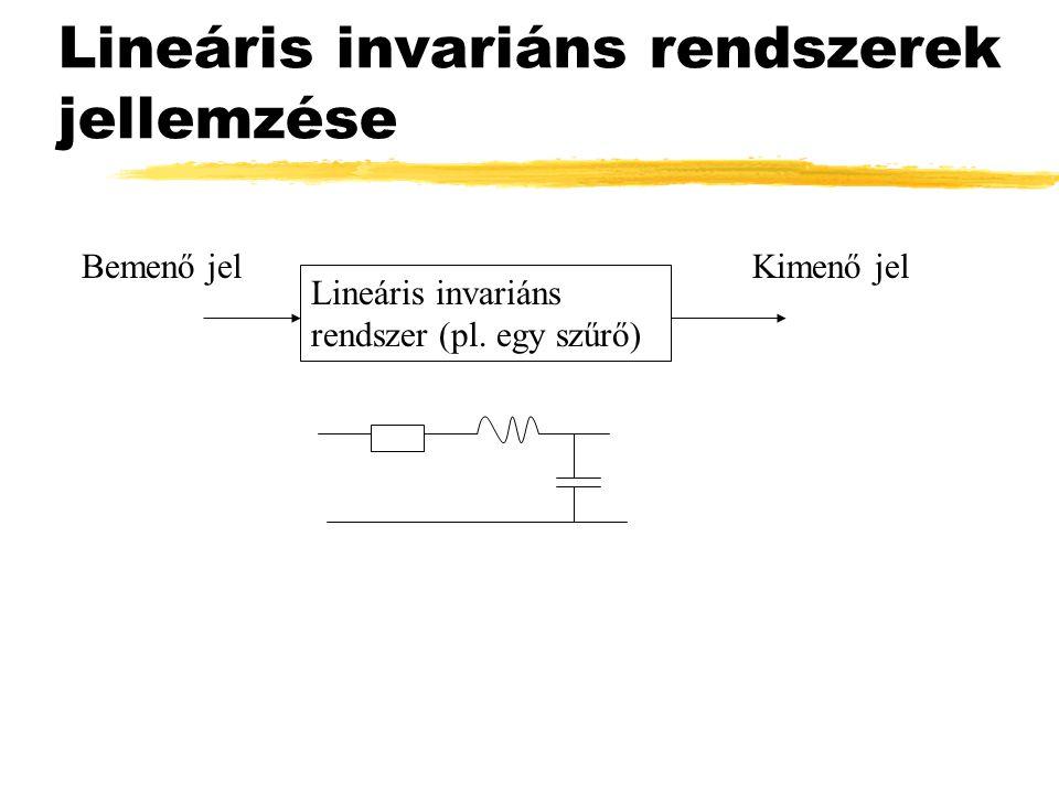 Lineáris invariáns rendszerek jellemzése Lineáris invariáns rendszer (pl. egy szűrő) Bemenő jelKimenő jel