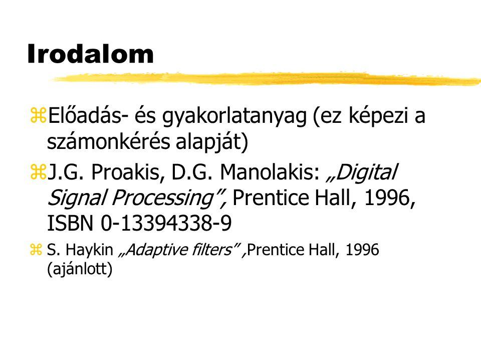 """Irodalom zElőadás- és gyakorlatanyag (ez képezi a számonkérés alapját) zJ.G. Proakis, D.G. Manolakis: """"Digital Signal Processing"""", Prentice Hall, 1996"""