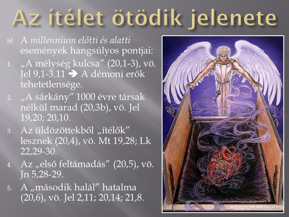 """ Az """" ezer esztendő (latinul – millennium) kifejezés ötször fordul elő az ötödik jelenetben (20,2.3.4.5.6.), és egyszer a hatodik jelenetben (20,7)."""