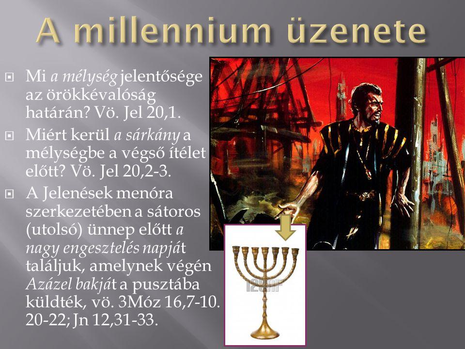  A millennium végső üzenete egy nagyon árnyalt utalás lehet a vízözön előtti generációkra, amikor Éden kertje még jelen volt, és az emberek közel ezer évig éltek (Ádám-930, Járed-962, Methuséláh-969, Noé- 950).
