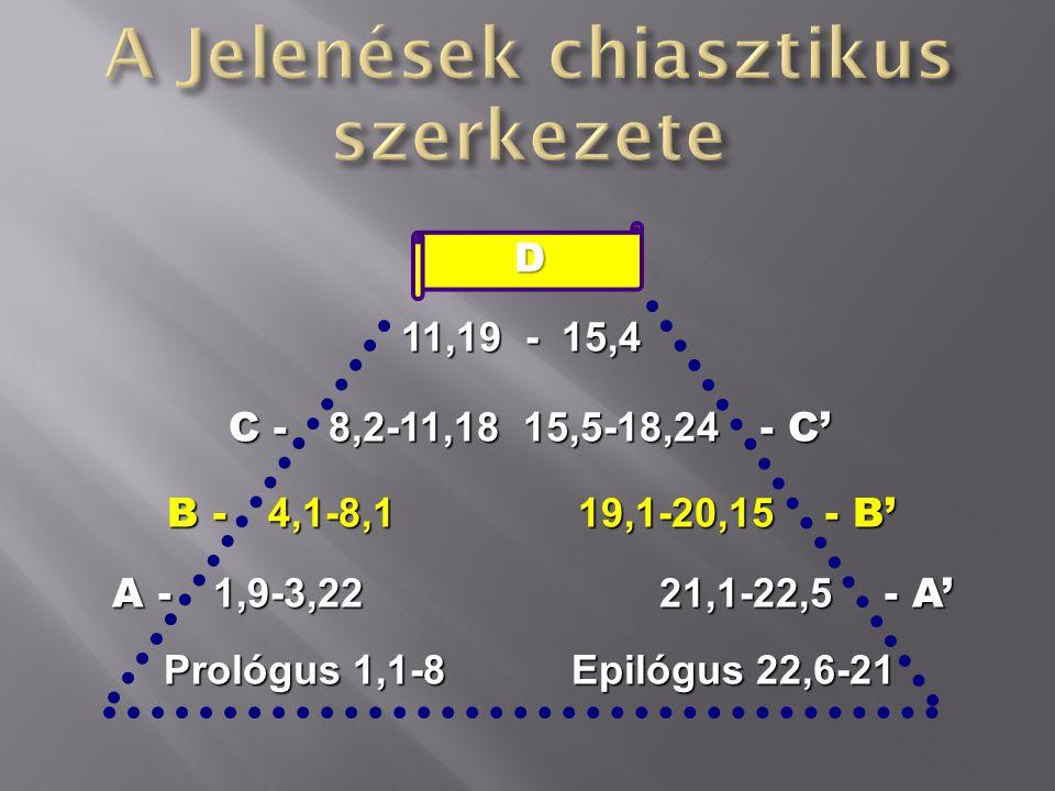 D A Sárkány harca A Sárkány harca C - 7 trombita 7 csapás - C' B - 7 pecsét Az ítélet 7 jelenete - B' A - 7 gyülekezet 1 gyülekezet - A' Prológus 1,1-8 Epilógus 22,6-21 Prológus 1,1-8 Epilógus 22,6-21