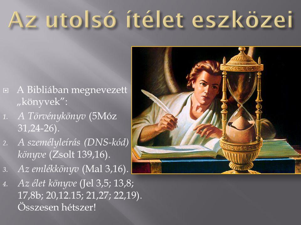 """ A Bibliában megnevezett """"könyvek"""": 1. A Törvénykönyv (5Móz 31,24-26). 2. A személyleírás (DNS-kód) könyve (Zsolt 139,16). 3. Az emlékkönyv (Mal 3,16"""