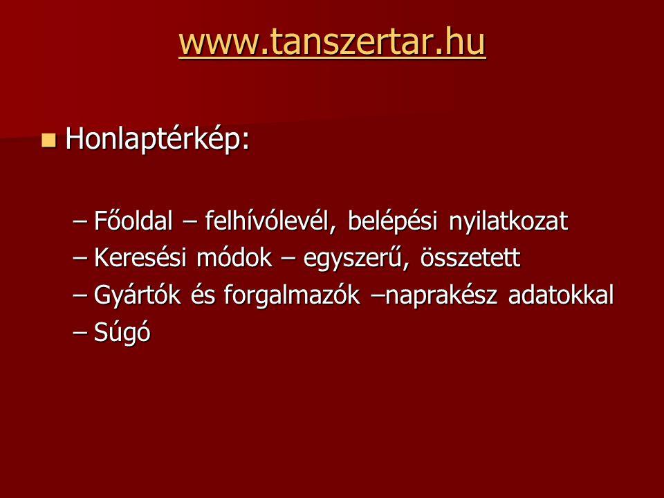 www.tanszertar.hu Honlaptérkép: Honlaptérkép: –Főoldal – felhívólevél, belépési nyilatkozat –Keresési módok – egyszerű, összetett –Gyártók és forgalmazók –naprakész adatokkal –Súgó