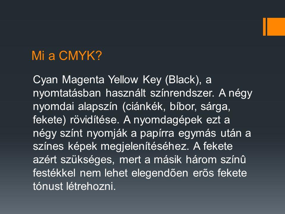 Mi a CMYK? Cyan Magenta Yellow Key (Black), a nyomtatásban használt színrendszer. A négy nyomdai alapszín (ciánkék, bíbor, sárga, fekete) rövidítése.
