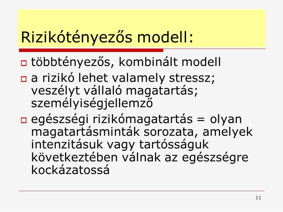 11 Rizikótényezős modell:  többtényezős, kombinált modell  a rizikó lehet valamely stressz; veszélyt vállaló magatartás; személyiségjellemző  egész