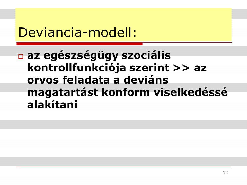 12 Deviancia-modell:  az egészségügy szociális kontrollfunkciója szerint >> az orvos feladata a deviáns magatartást konform viselkedéssé alakítani