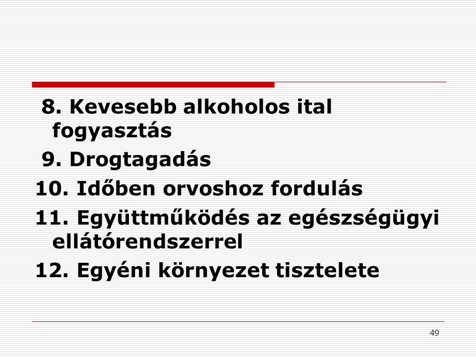 49 8. Kevesebb alkoholos ital fogyasztás 9. Drogtagadás 10. Időben orvoshoz fordulás 11. Együttműködés az egészségügyi ellátórendszerrel 12. Egyéni kö