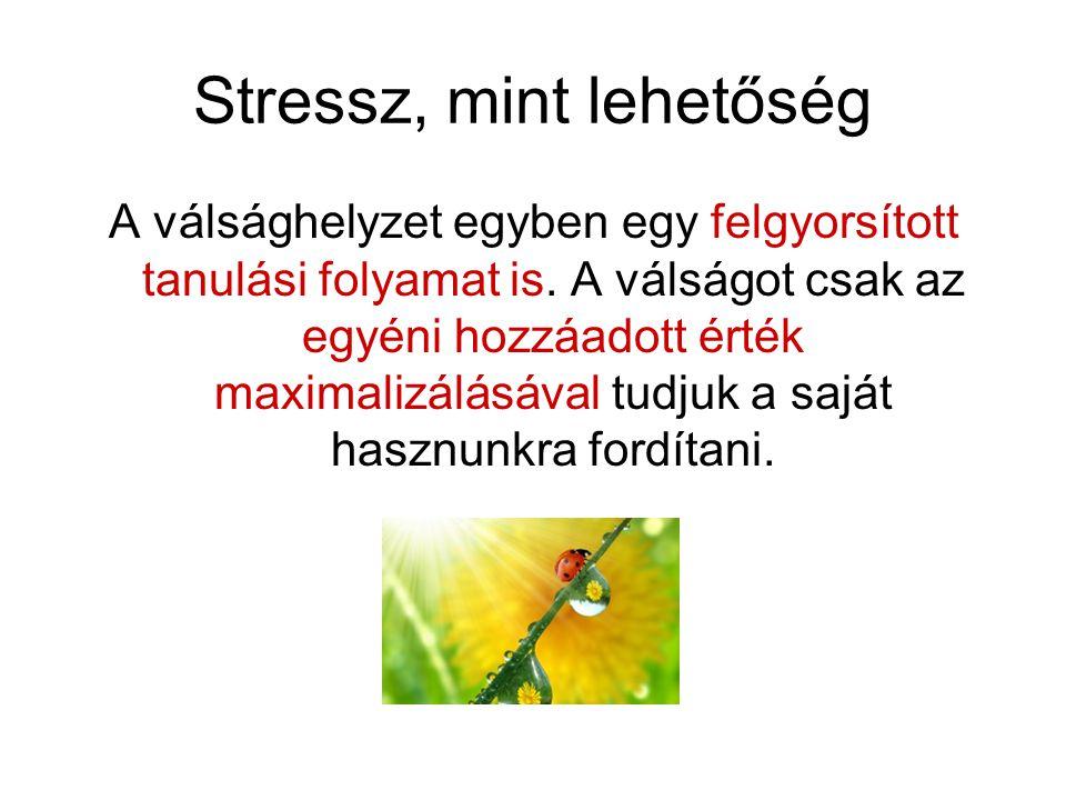 Stressz, mint lehetőség A válsághelyzet egyben egy felgyorsított tanulási folyamat is. A válságot csak az egyéni hozzáadott érték maximalizálásával tu