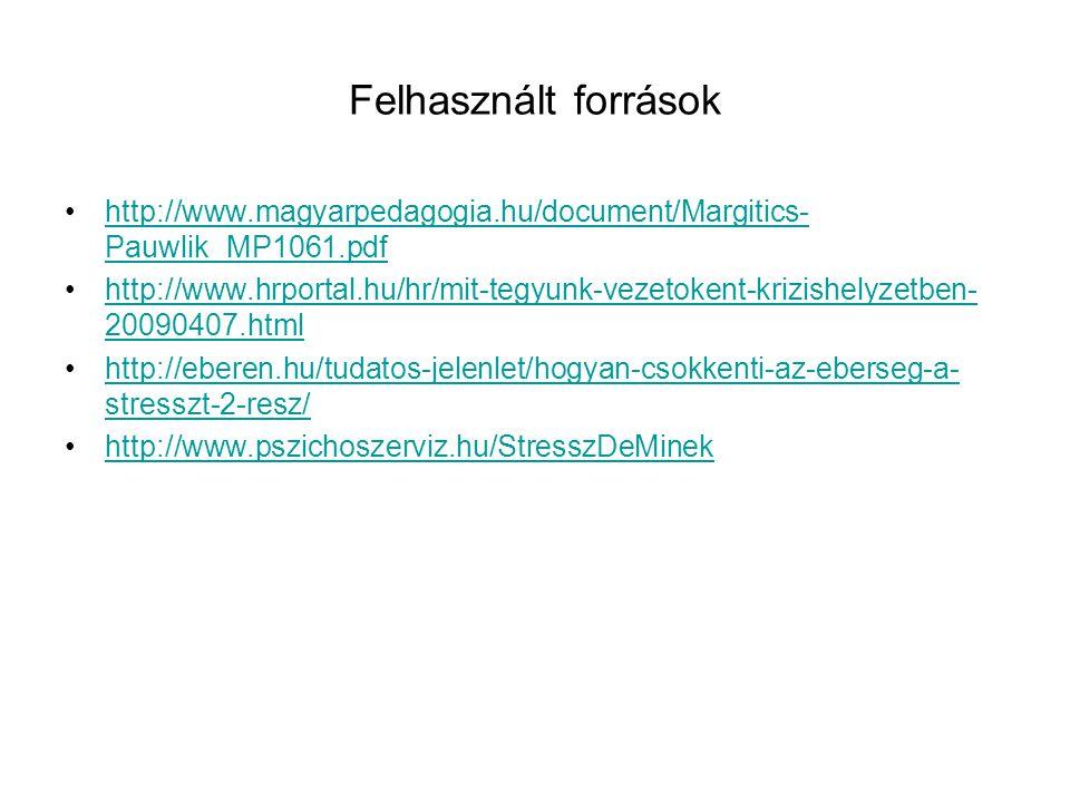 Felhasznált források http://www.magyarpedagogia.hu/document/Margitics- Pauwlik_MP1061.pdfhttp://www.magyarpedagogia.hu/document/Margitics- Pauwlik_MP1