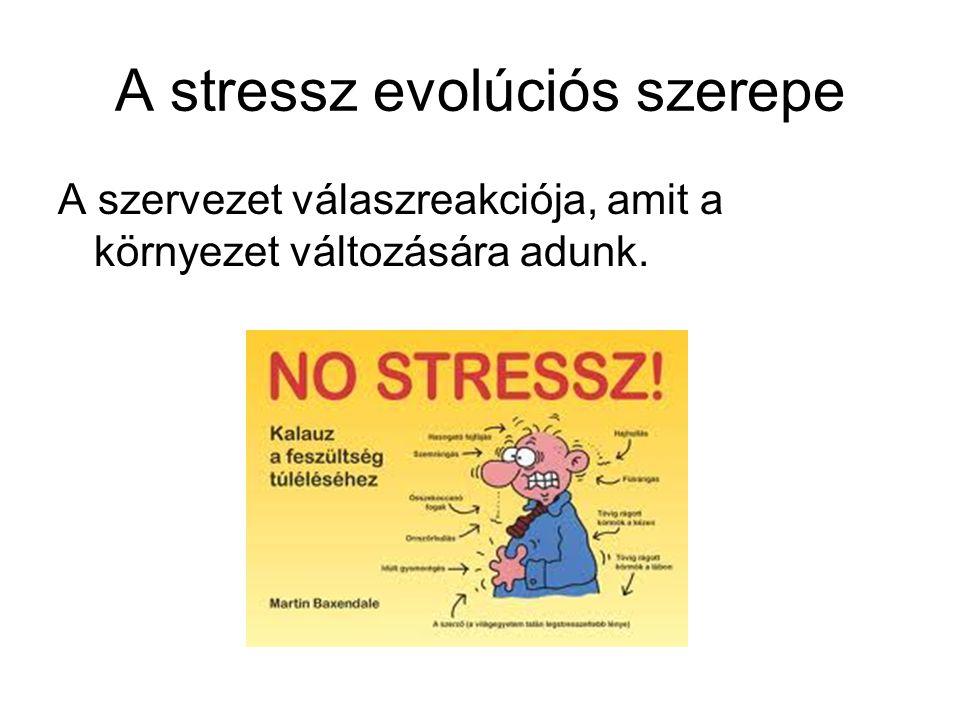 A stressz evolúciós szerepe A szervezet válaszreakciója, amit a környezet változására adunk.