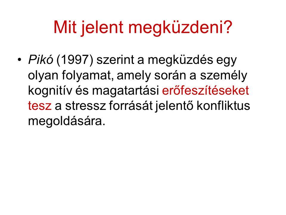 Mit jelent megküzdeni? Pikó (1997) szerint a megküzdés egy olyan folyamat, amely során a személy kognitív és magatartási erőfeszítéseket tesz a stress