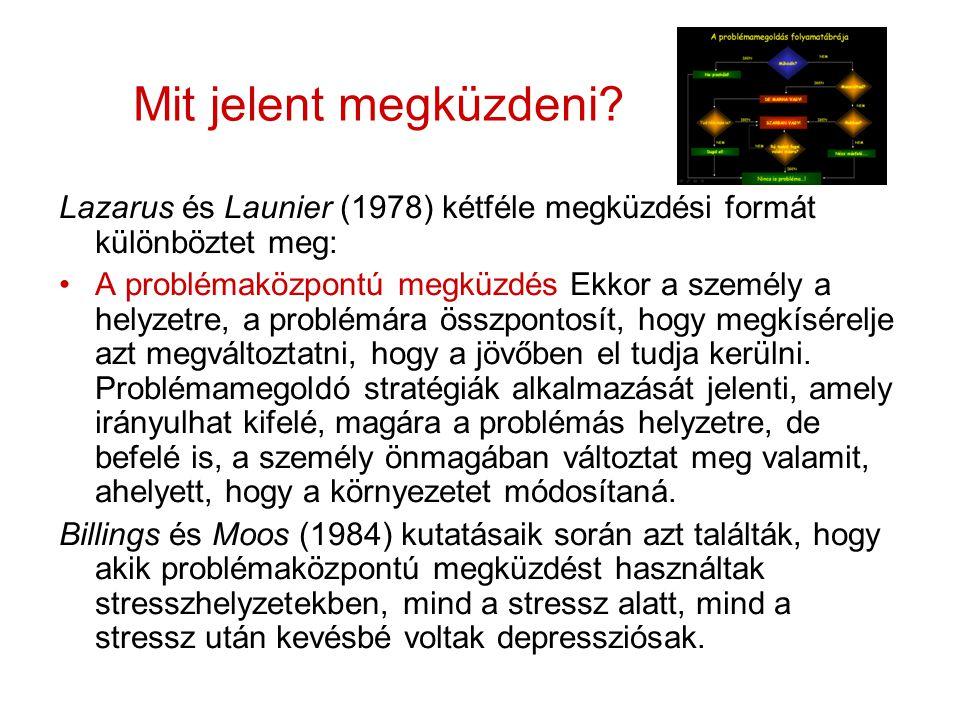 Mit jelent megküzdeni? Lazarus és Launier (1978) kétféle megküzdési formát különböztet meg: A problémaközpontú megküzdés Ekkor a személy a helyzetre,