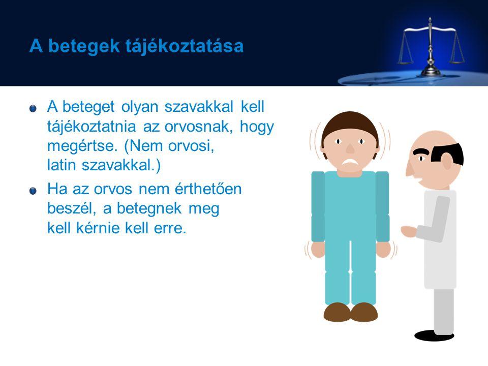 A betegek tájékoztatása A beteget olyan szavakkal kell tájékoztatnia az orvosnak, hogy megértse.