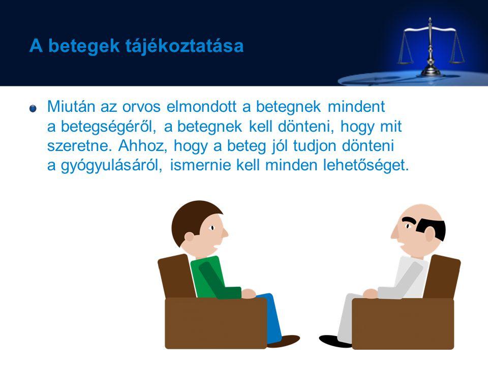 A betegek tájékoztatása Miután az orvos elmondott a betegnek mindent a betegségéről, a betegnek kell dönteni, hogy mit szeretne.