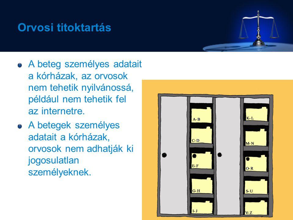 Orvosi titoktartás A beteg személyes adatait a kórházak, az orvosok nem tehetik nyilvánossá, például nem tehetik fel az internetre.