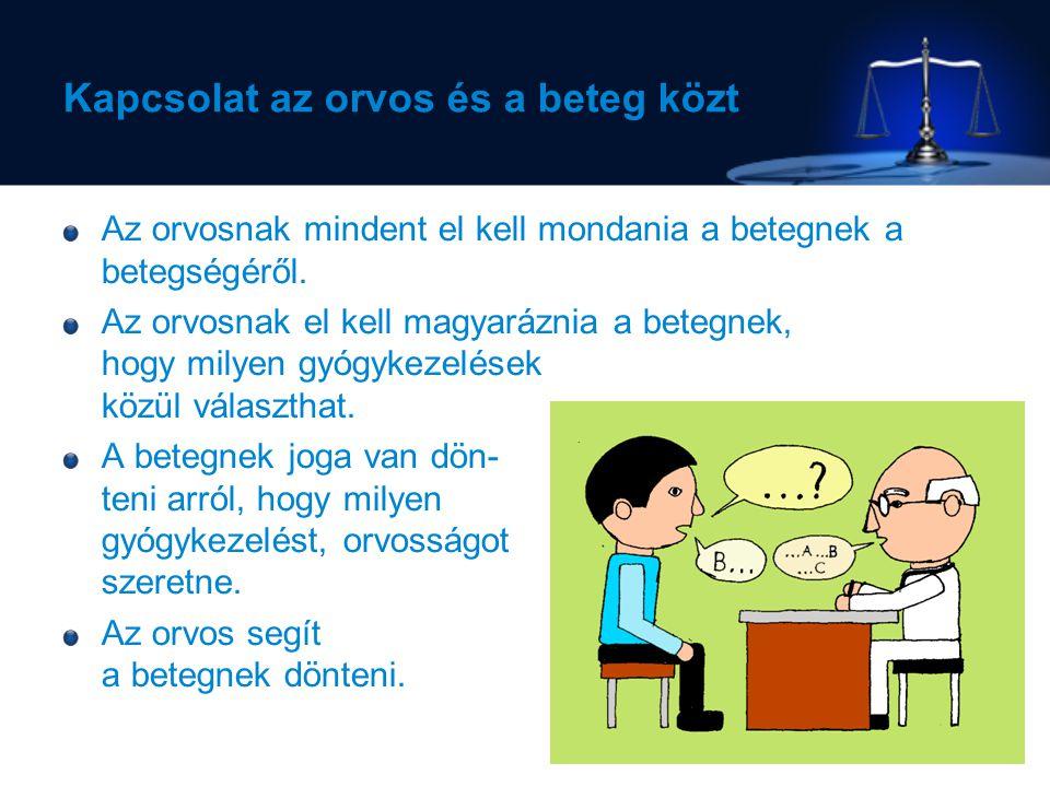 A betegek tájékoztatása A beteg döntését el kell fogadnia az orvosnak.