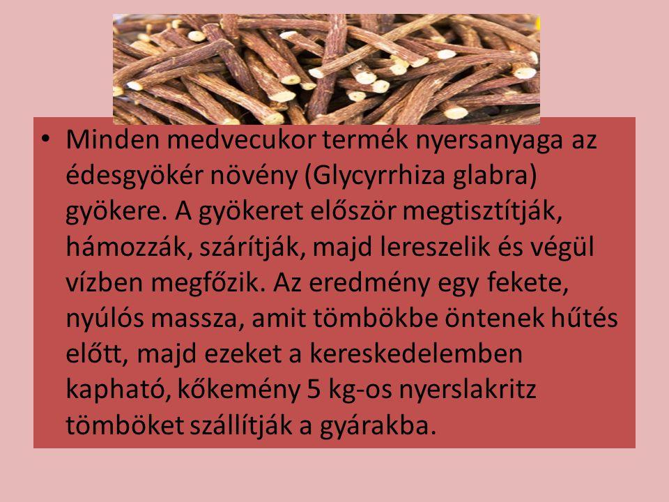 Minden medvecukor termék nyersanyaga az édesgyökér növény (Glycyrrhiza glabra) gyökere. A gyökeret először megtisztítják, hámozzák, szárítják, majd le
