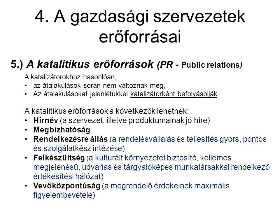4. A gazdasági szervezetek erőforrásai 5.) A katalitikus erőforrások (PR - Public relations) A katalizátorokhoz hasonlóan, az átalakulások során nem v